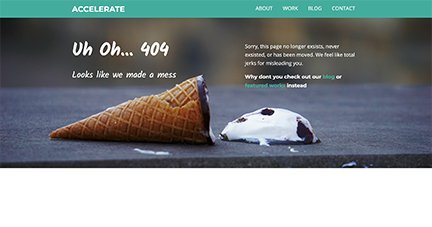 A fun accelerate 404 page for personality